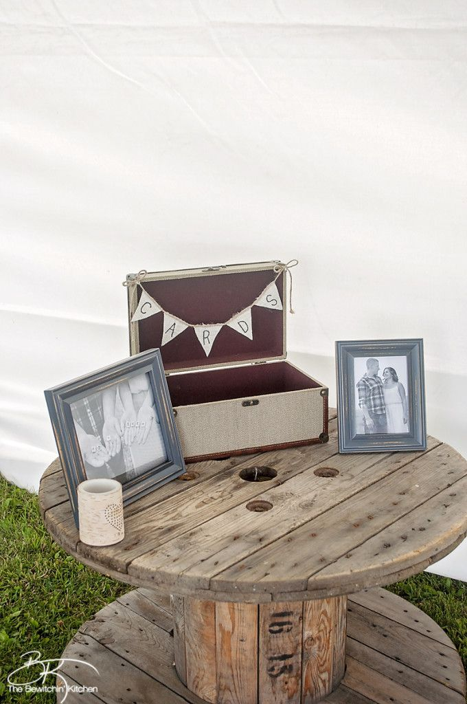 Rustic wedding ideas. These DIY wedding decorations are amazing and look incredibly cute when put together. Crystal and Crates Vintage Rentals has two old spools.