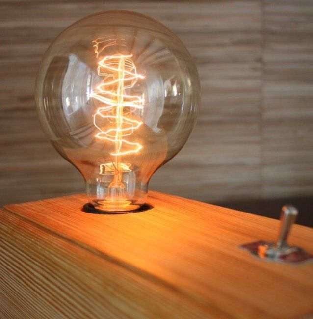 Industrial Block Lamp by Industrauss. R850 Wooden base made from reclaimed wood Old Nail holes, small cracks etc add to the overall look of the item, and are NOT considered a defect. Hence each base is unique!