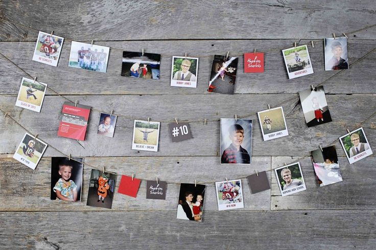 Create a string of hanging photos from previous years for a decoration at the party #graduation #party