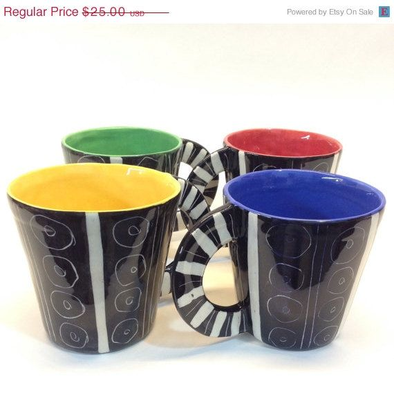 ON SALE Ceramic mugs handpainted/ bold and graphic by Mayware
