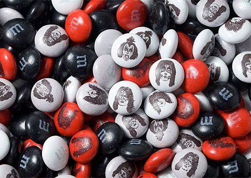 KISS M&Ms-The candies show the band members' faces and were created to coincide with the release of the group's album, Sonic Boom. For custom promo items, visit: http://www.unifiedmanufacturing.com/products-page/product-category/t-shirts/