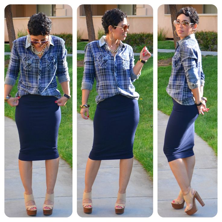 OOTD: #DIY Pencil Skirt + Plaid Shirt