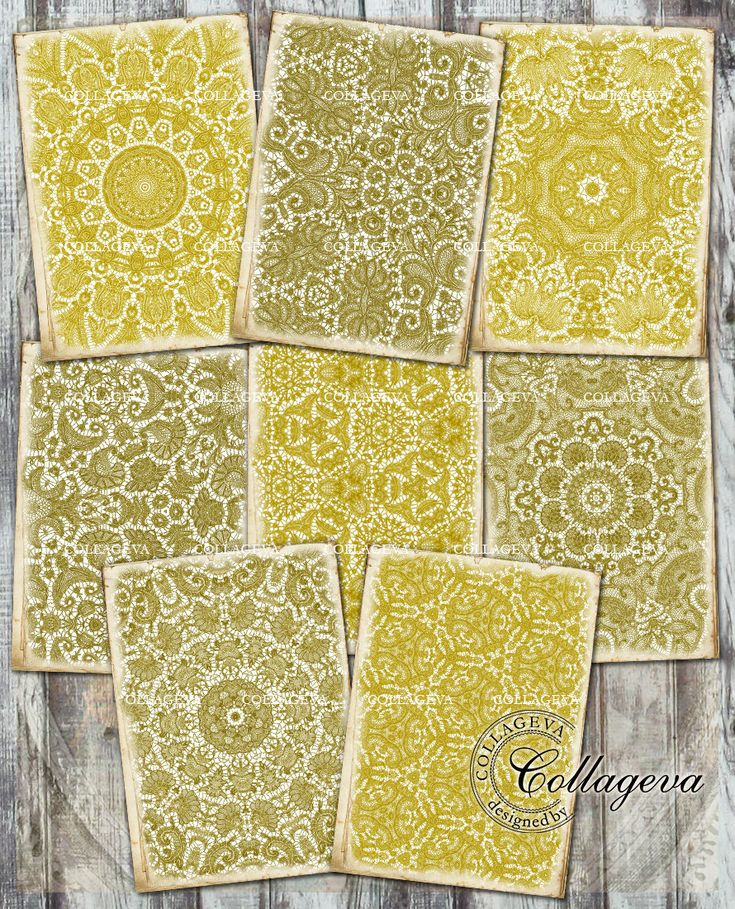 Golden Laces Digital Paper, Aged Grunge Background, ACEO ATC Tag Card Label, Jewelry Holder Old Gold Bright Gold Shabby Chic Doily (T013-a) by collageva on Etsy