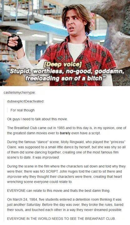 John Hughes is one of the best Directors ever in my opinion. He literally made Samantha from Sixteen Candles for Molly Ringwald, and he did something truly amazing with Ferris Bueller's day off and how he used Ferris to progress Cameron's story.