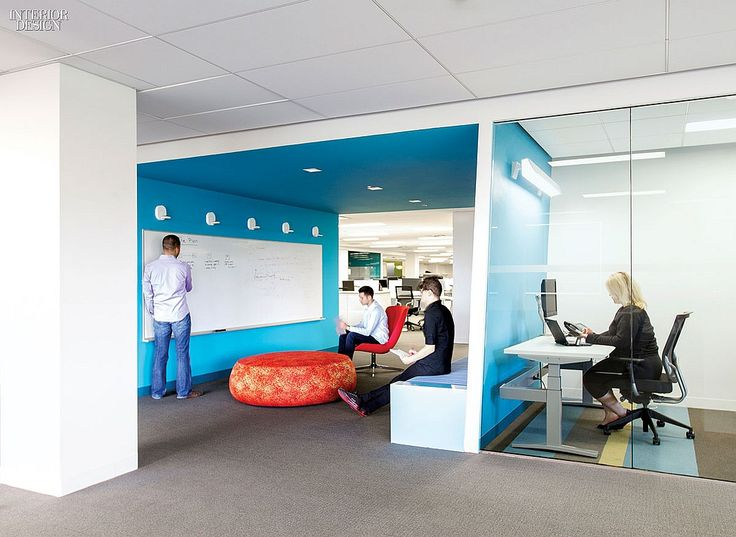 Versatile workspace that includes open area of collaborative work, and private rooms for quiet work