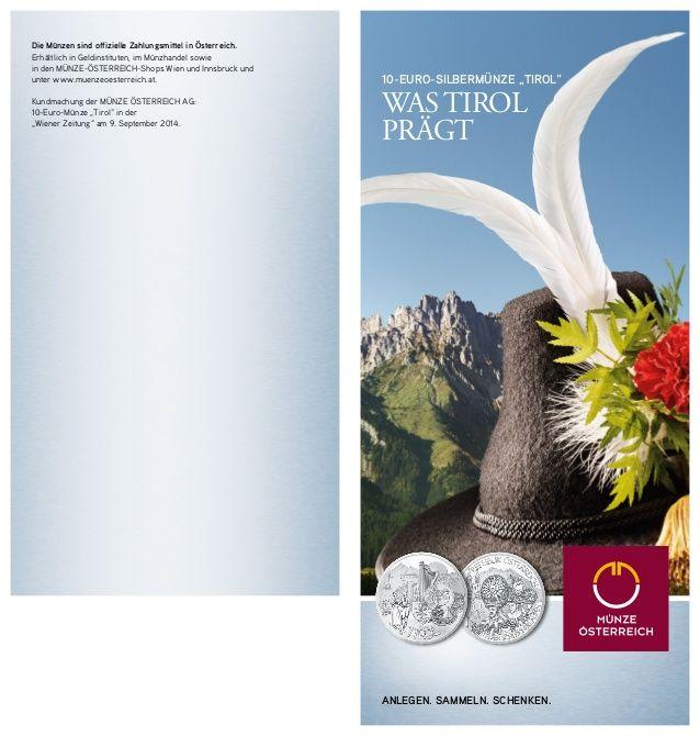 10 Euro Silbermünze Tirol von Münze Österreich by MÜNZE ÖSTERREICH via slideshare