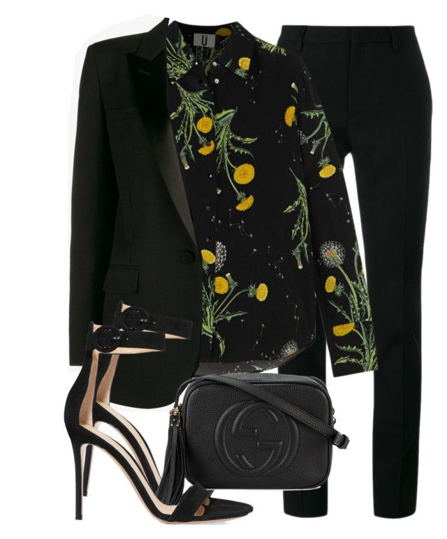 Sem título #2336 by mariandradde on Polyvore featuring Topshop Unique, Yves Saint Laurent, Gianvito Rossi and Gucci