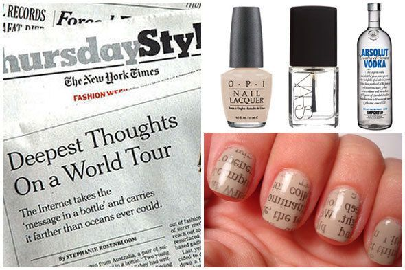 Newspaper Inspired Nail Art: DIY