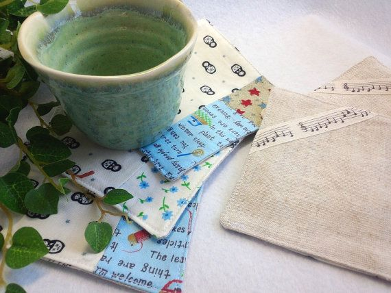 """Set of 5 Coasters Patchwork Sewing Hand / blue and white - 4.3"""" * 4.3""""(11*11cm) YuminaCafe, ¥1500"""