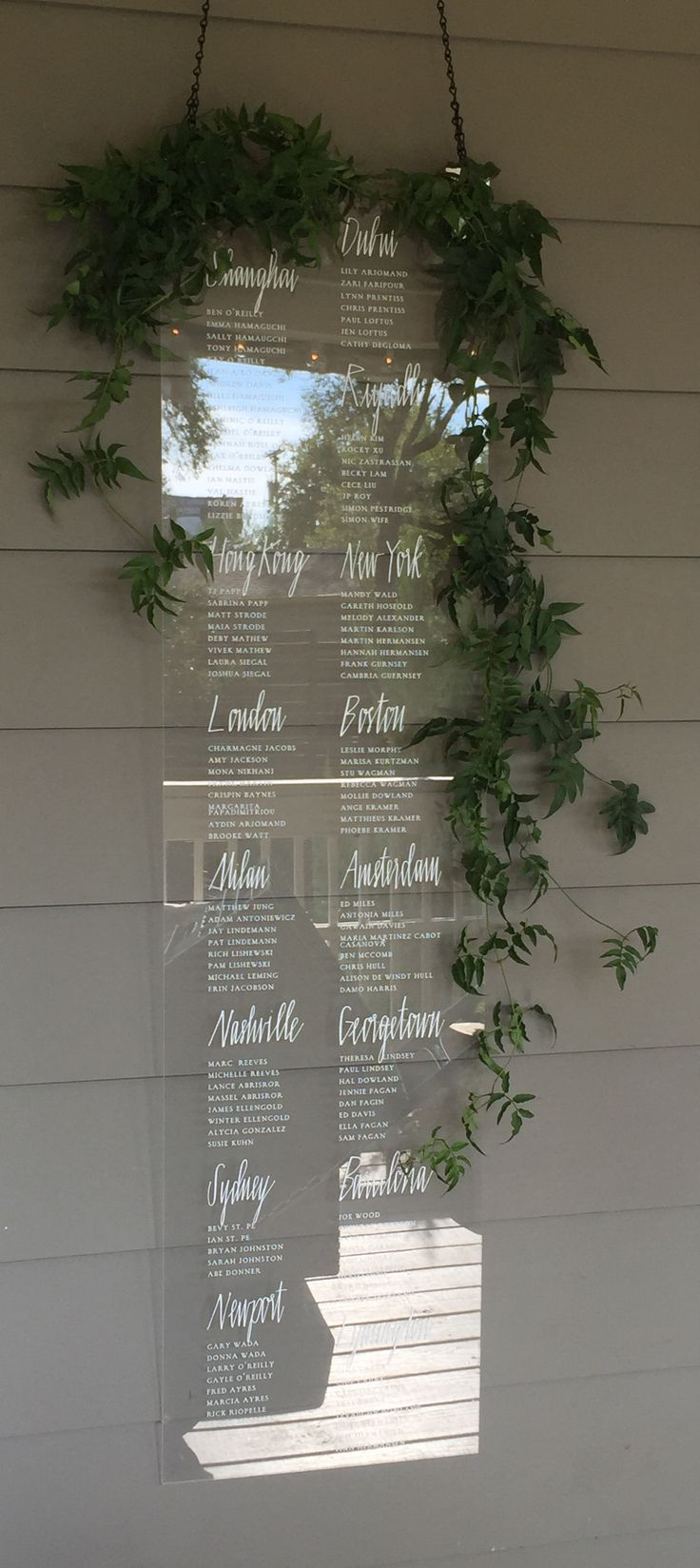 Gorgeous acrylic display for @12thTable. Different cities represented  different tables for this particular wedding