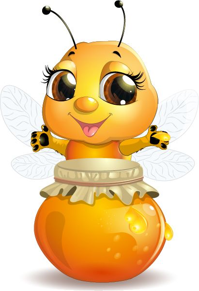 Cute bee with honey Jar vector 01