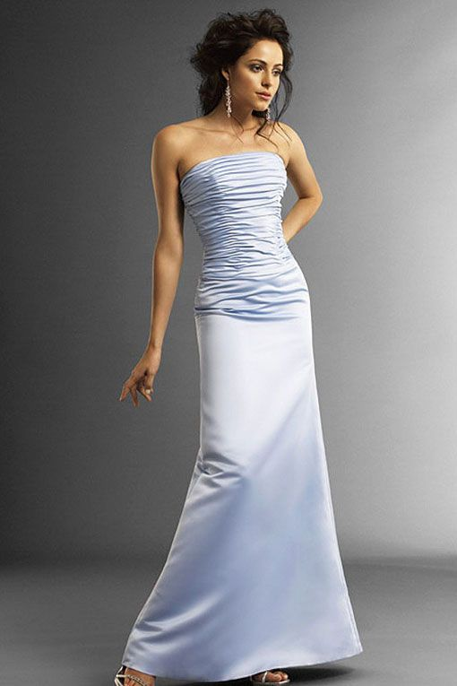 Strapless satin bridesmaid dress with dropped waist