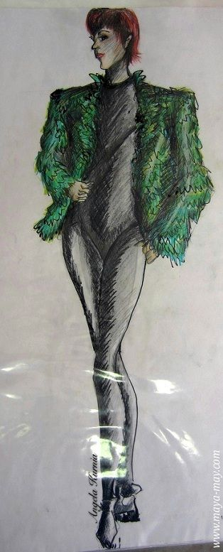 """Woman in green feather"" by Angela Kurnia. A2 size. Pencil sketch & watercolor. #Life drawing #painting #art #fashionillustration #freelanceillustrator #design #feather #pose #freehanddrawing"