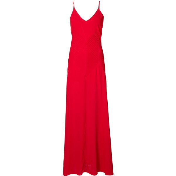 Anine Bing Sophia dress (2,050 PEN) ❤ liked on Polyvore featuring dresses, red, slip dresses, red slip, long dresses, v neckline dress and v-neck dresses