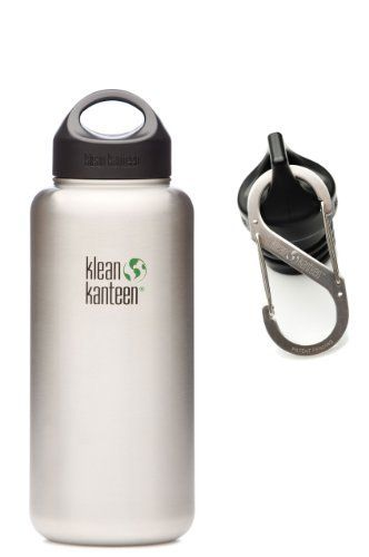 Klean Kanteen 40 oz Wide Mouth Bottle (Stainless Loop Cap and Carabiner) by Klean Kanteen. $28.38. Perfect for hiking, camping, work, commuting, school, kids lunchboxes, or leisure. With the Klean Kanteen Wide you have even more earth- and body-friendly choices. They come in five sizes ranging from 12 to 64 ounces. The extra wide opening is more than 2 inches in diameter for quick filling, pouring and cleaning, and the stainless steel thread design works with st...