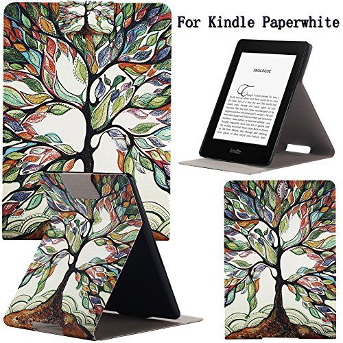Newshine(TM) Case For Kindle PaperwhiteUltra Slim PU Leather Smart Case Build in Magnetic with [Auto Sleep/Wake Function] for Amazon New Kindle Paperwhite 2015 2013 2012 6'' E-reader (Beautiful Tree)