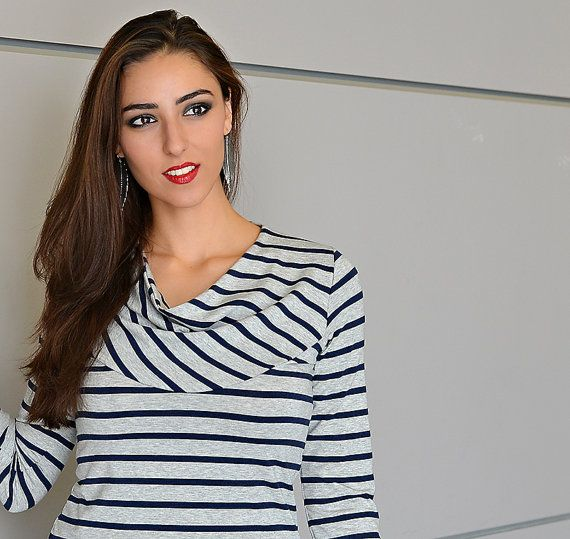 Striped women's top in heather gray and navy with soft by tangente, $70.00
