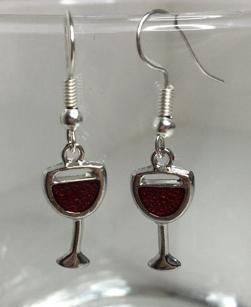 6.99$ Red Wine Glass Earrings | Motivational Fitness Jewelry - Miss Fit Boutique