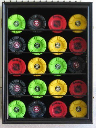 20 Hockey Puck Display Case Shadow Box Wall Cabinet (Pucks not inlcuded), UV Protection Door, BLACK Finish (HCB20-BL) by Unknown, http://www.amazon.com/dp/B0062R6EIW/ref=cm_sw_r_pi_dp_2E8xqb0N5X67D