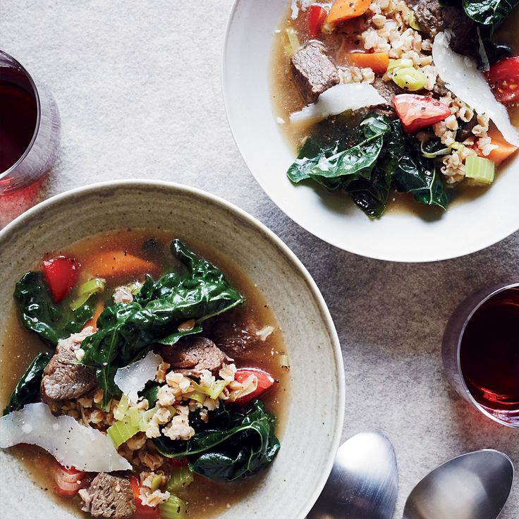 Beautiful This hearty soup bines tender chunks of beef with nutty farro and plenty of vegetables
