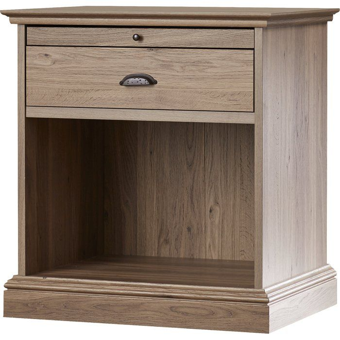 White Sunon Wooden Nightstand Open Storage Cabinet Shelf Bedside End Table with Bin Drawer