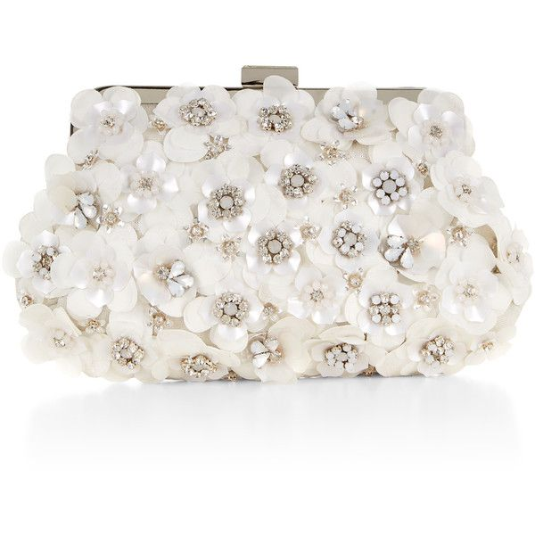 Accessorize Evie Frame Clutch Bag ($59) ❤ liked on Polyvore featuring bags, handbags, clutches, embellished handbags, sequin purse, white clutches, chain handle handbags and sparkly purses