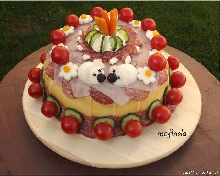 Salty snack pie. Ideas of registration by EASTER - Соленый закусочный торт. Идеи оформления к ПАСХЕ (30) (700x560, 250Kb)
