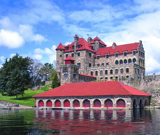 Singer Castle (formerly Jorstadt Castle,) Chippewa Bay, St. Lawrence Thousand Island Seaway, New York    Jorstadt Island was designed at the turn of the century by famous Beaux-Arts architect Ernest Flagg as a summer residence and hunting lodge for the president of Singer Sewing Machine Co. and inspired by Sir Walter Scott's Woodstock Castle.