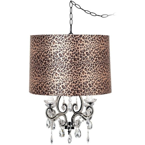 Feiss Leila Black Designer Leopard Shade Swag Chandelier ($220) ❤ liked on Polyvore featuring home, lighting, ceiling lights, brown, chandeliers, wall lights, black chandelier light, black ceiling lights, black chandelier lighting and bead kits