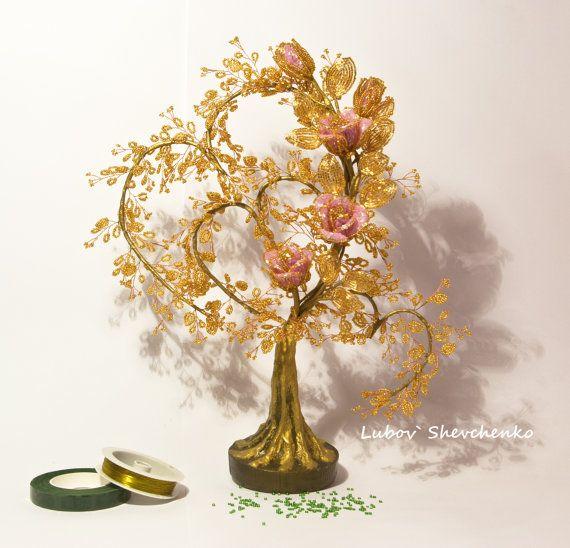 Products from beads. Golden Flower heart. Pink от KrainaHandmade