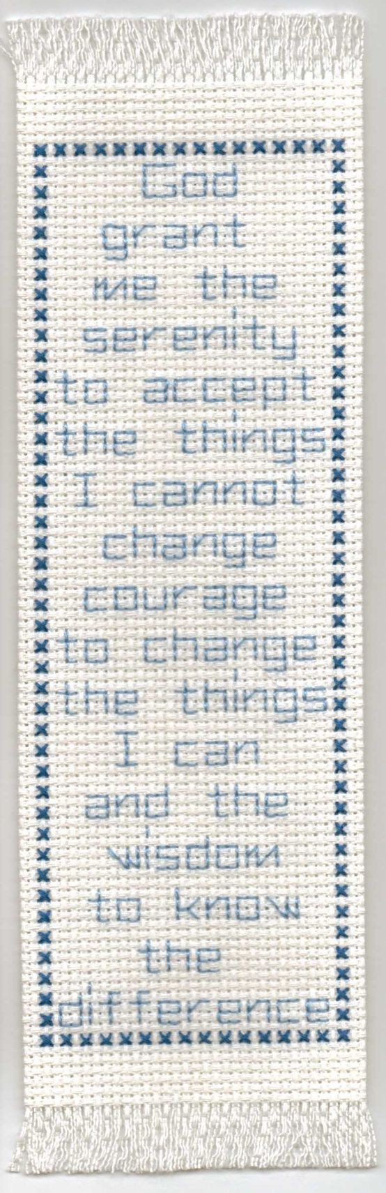 Blue Serenity Prayer Cross Stitched Bookmark by alwaysandforever99, $3.00