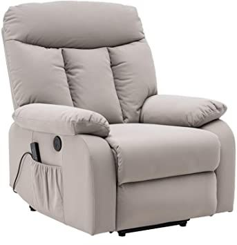 QLANG Electric Power Lift Recliner Chair, Leather-Like Fabric Recliners for Elderly, Home Sofa Chairs with Heat & Massage, Remote Control, 3 Positions, 2 Side Pockets and USB Ports Silvery White Modern Recliner Chairs, Best Recliner Chair, Rattan Sofa, Sofa Chair, Sofa Set, Lift Recliners, Single Sofa, Massage Chair, Living Room Sofa