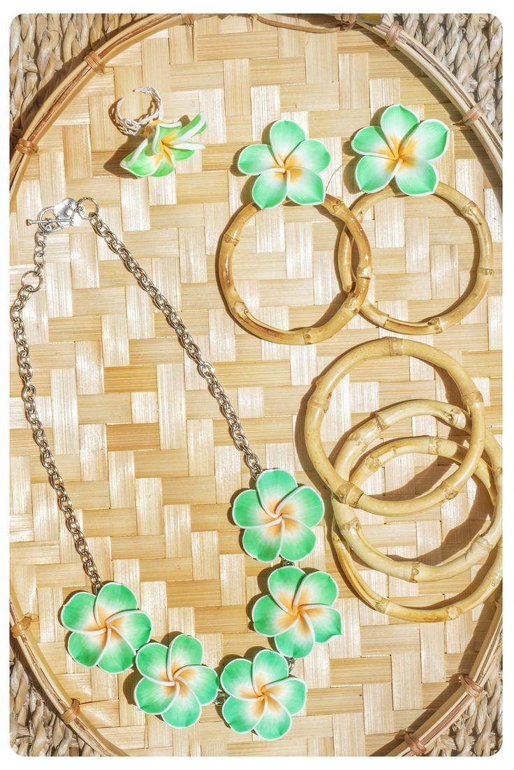 Light Green plumeria  bamboo set plumeria necklace plumeria and bamboo hoop earrings plumeria ring