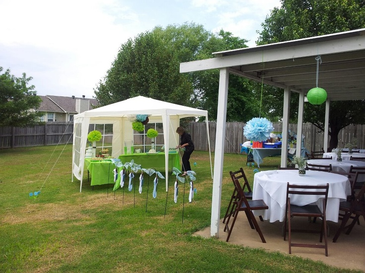 Outdoor baby showers baby showers and outdoor on pinterest for Baby shower decoration ideas for outdoors