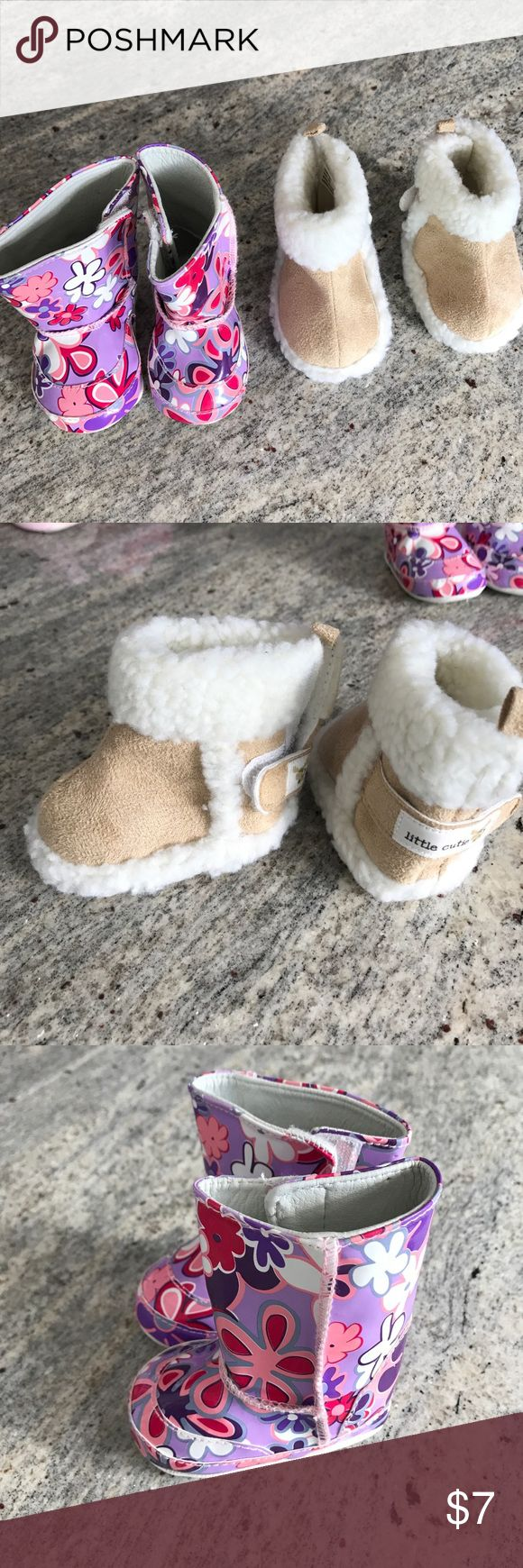 Infant boot bundle NWOT.  Fuzzy boots and Welly Rain Boots.  NB Shoes Baby & Walker