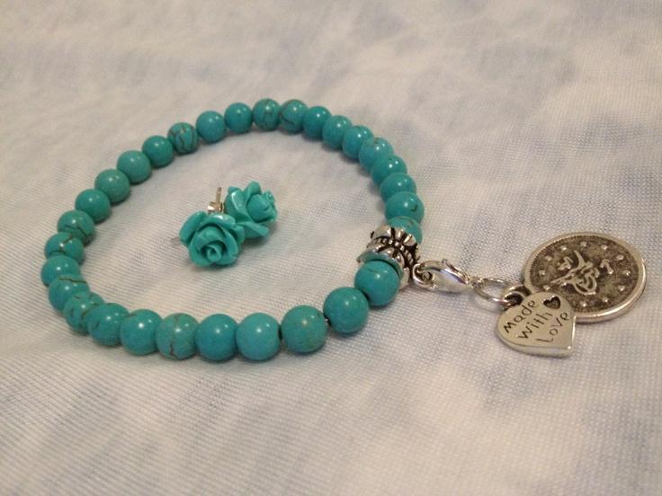 Aqua Flower Earrings Set