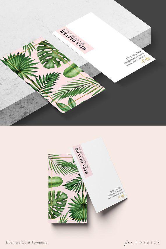 Botanical Business Card Business Card Design Tropical Business