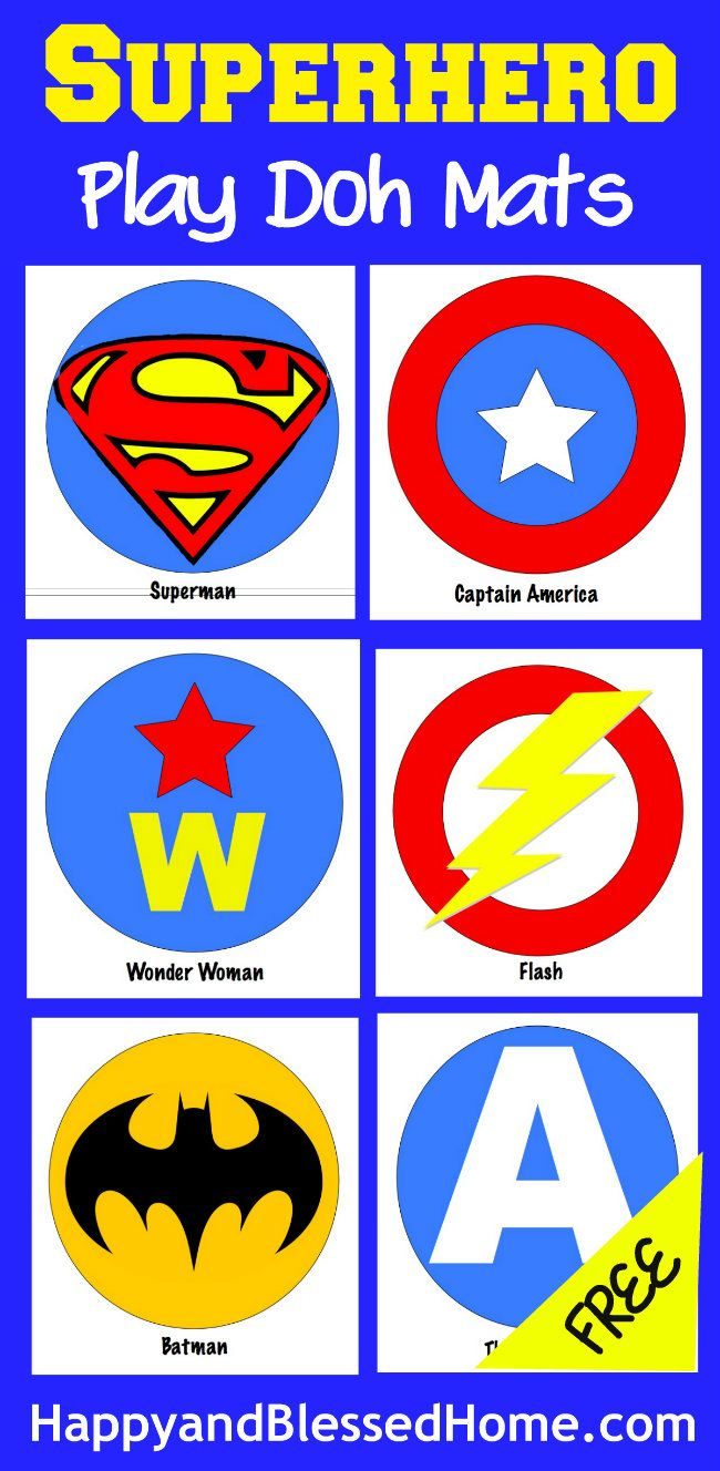 Superhero Play Doh Mats Fun Activity for Kids from HappyandBlessedHome.com #warmupyourday #ad