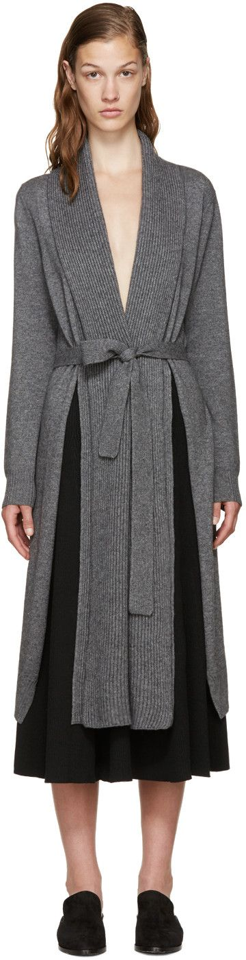 Rosetta Getty - Grey Cashmere Shawl Cardigan