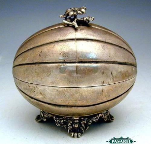 "Antique Silver Etrog  Box, Russia, 1830. Etrog is the fruit of the citrus plant, one of the ""Four Species"" mentioned in te Talmud relevant to the celebration of Succoth."