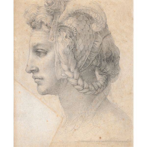 Michelangelo, Ideal head of a woman, a black chalk drawing (Florence, Italy, About 1525-8) - 'Michelangelo (1475-1564) created sophisticated studies of profile heads, such as this one, as works of art in their own right.' British Museum  http://www.britishmuseum.org/explore/highlights/highlight_objects/pd/m/michelangelo,_head_of_a_woman.aspx