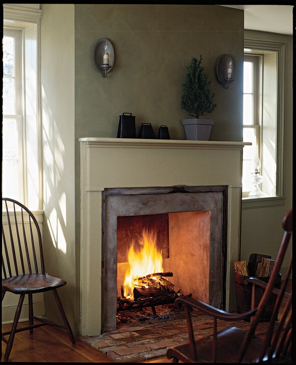 - I love an open fire place. And I also LOVE this shade of green!