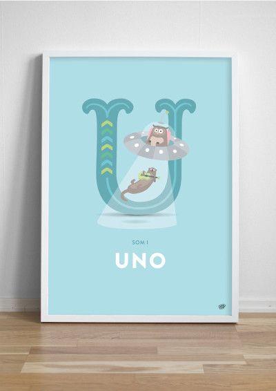 Namntavla Bokstaven U - ukulelespelande utter och uggla i ufo!