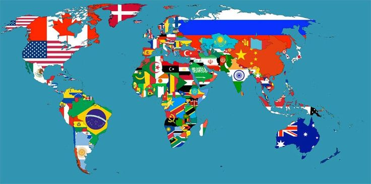 Global map by national flag