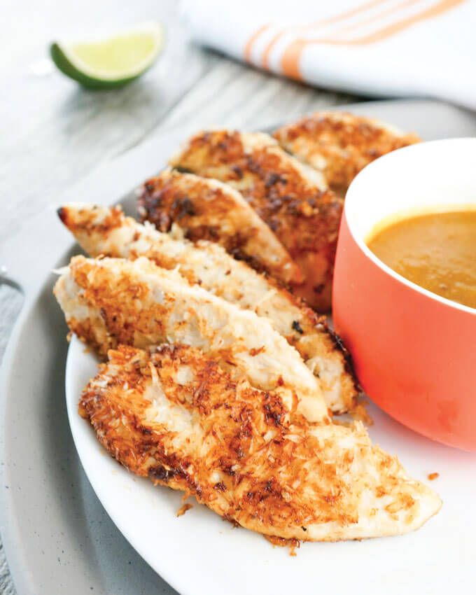 This coconut-crusted chicken tenders with pineapple dipping sauce ...