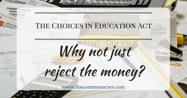 "Last week, I wrote about why I object to the Choices in Education Act as it is currently written. Commenter Katie asked, ""Would homeschoolers be required to use the vouchers? Or could they just opt out altogether and not accept any... #choicesineducationact #educationalchoice #educationalfreedom"