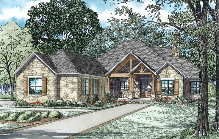 Plan 60603ND: Rustic Brick Ranch Home With Sunroom