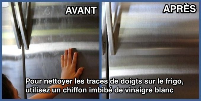 comment nettoyer l 39 ext rieur du frigo et enlever les traces de doigts frigo nettoyant et doigts. Black Bedroom Furniture Sets. Home Design Ideas