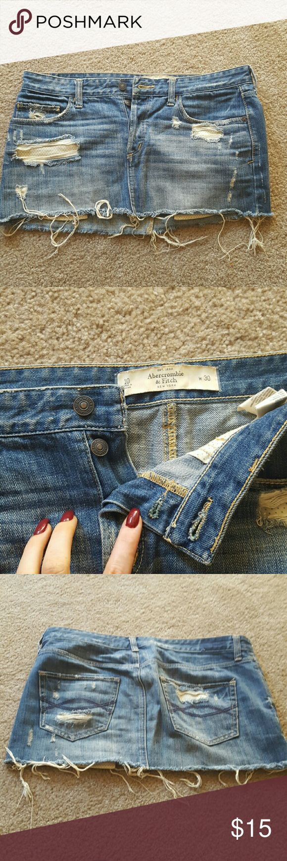 Abercrombie and Fitch jean skirt Low waisted, pocket very slightly peek out. Abercrombie & Fitch Skirts Mini
