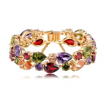 24K Gold Rose Gold Plated Colorful Zircon Peach Heart Bracelet online - NewChic
